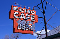 Echo Café sign in Echo, Utah. The city of Echo was once a junction point on the Lincoln Highway for travelers heading west to Salt Lake City or Ogden, Utah.