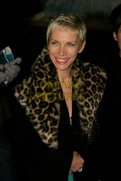 "ANNIE LENNOX.""The Chronicles of Narnia: The Lion, The Witch & The Wardrobe"" - world premiere at the Royal Albert Hall, London, UK..December 7th, 2005.Ref: AH.half length leopard print fur collar.www.capitalpictures.com.sales@capitalpictures.com.©Capital Pictures"