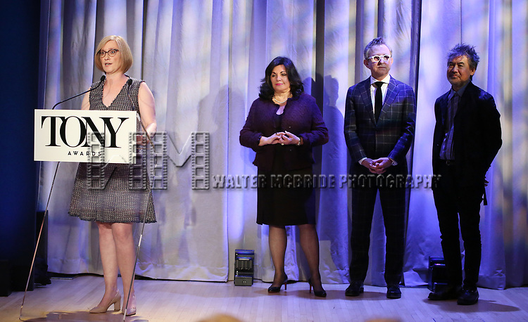 Heather Hitchens, Charlotte St. Martin, Thomas Schumacher and David Henry Hwang attend the 2018 Tony Awards Nominations Announcement at The New York Public Library for the Performing Arts on May 1, 2018 in New York City.