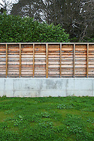 A concrete wall surmounted by a rustic fencing encloses the garden