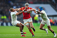 Jonathan Davies of Wales takes on the England defence. RBS Six Nations match between England and Wales on March 12, 2016 at Twickenham Stadium in London, England. Photo by: Patrick Khachfe / Onside Images