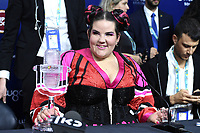 LISBON, PORTUGAL - MAY 12: Netta Barzilai (Israel) is named the Eurovision Song Contest Winner during the Grand Final of the Eurovision Song Contest on May 12th, 2018 in Lisbon, Portugal.<br /> **Not for sale in Russia or FSU**<br /> CAP/PER/EN<br /> &copy;EN/PER/Capital Pictures