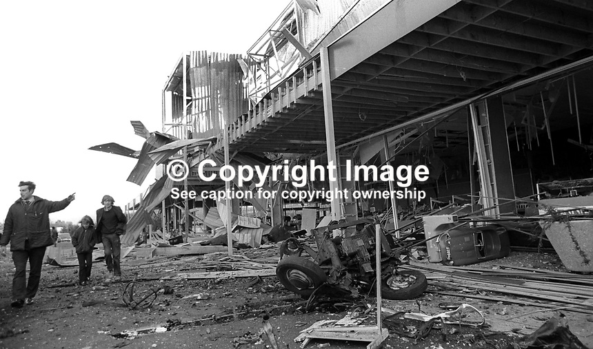 A garden centre at Dunmurry on the outskirts of Belfast, N Ireland, was considered a &ldquo;strategic&rdquo; target for a Provisional IRA bombing on 8th November 1972. The result - extensive damage but no casualties. 197211080698<br />