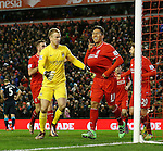 Joe Hart of Manchester City goes looking for the ball as Roberto Firmino of Liverpool celebrates scoring the third goal - English Premier League - Liverpool vs Manchester City - Anfield Stadium - Liverpool - England - 3rd March 2016 - Picture Simon Bellis/Sportimage