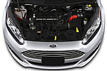 Car Stock 2019 Ford Fiesta SE 4 Door Sedan Engine  high angle detail view