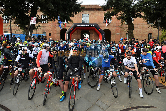 5,000 participants of the Gran Fondo Strade Bianche 2019 wait on the start line in the fantastic location of the Fortezza Medicea in Siena running 133km from Siena to Siena, held over the white gravel roads of Tuscany, Italy. 10th March 2019.<br /> Picture: LaPresse/Gian Matteo D'Alberto | Cyclefile<br /> <br /> <br /> All photos usage must carry mandatory copyright credit (© Cyclefile | LaPresse/Gian Matteo D'Alberto)