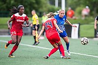 Boston, MA - Saturday July 01, 2017: Estelle Johnson and Adriana Leon during a regular season National Women's Soccer League (NWSL) match between the Boston Breakers and the Washington Spirit at Jordan Field.