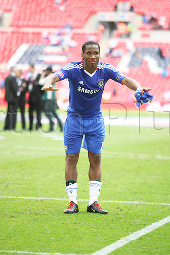 15/05/2010 FA Cup Final Chelsea v Portsmouth at Wembley. Didier Drogba after the game celebrates a fantastic season for himself and Chelsea.