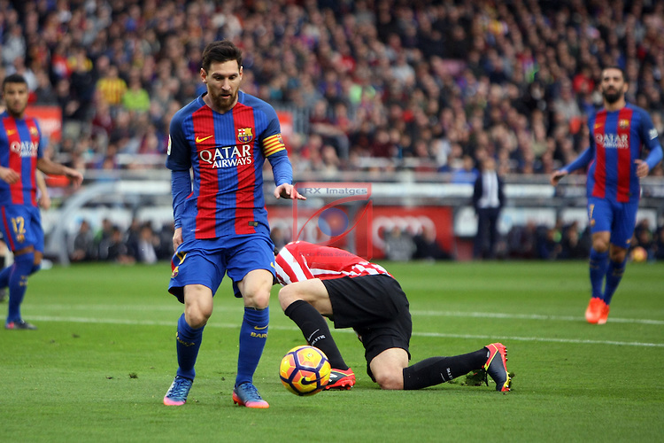 League Santander 2016/2017. Game: 21.<br /> FC Barcelona vs Athletic Club: 3-0.<br /> Lionel Messi.