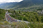The peloton in action during Stage 14 of the 2019 Giro d'Italia, running 131km from Saint-Vincent to Courmayeur (Skyway Monte Bianco), Italy. 25th May 2019<br /> Picture: Fabio Ferrari/LaPresse | Cyclefile<br /> <br /> All photos usage must carry mandatory copyright credit (© Cyclefile | Fabio Ferrari/LaPresse)