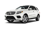 Stock pictures of low aggressive front three quarter view of 2017 Mercedes Benz GLE-Class GLE550e-4MATIC® 5 Door SUV Low Aggressive