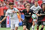 12.05.2018, BayArena, Leverkusen, GER, 1.FBL, Bayer 04 Leverkusen vs Hannover 96, im Bild v. li. im Zweikampf Maina Linton (#40, Hannover 96) Tin Jedvaj (#16, Bayer 04 Leverkusen) <br /> <br /> <br /> Foto &copy; nordphoto/Mauelshagen
