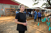 Occidental College professor Mary Beth Heffernan at ELWA II Ebola Treatment Unit (ETU) in Monrovia, Liberia on Thurs., Feb. 24, 2015. Professor Heffernan was there to work on her PPE Portrait Project, which aids health care workers fighting the Ebola virus disease in West Africa.<br /> (Photo by Marc Campos, Occidental College Photographer) Mary Beth Heffernan, professor of art and art history at Occidental College, works in Monrovia the capital of Liberia, Africa in 2015. Professor Heffernan was there to work on her PPE (personal protective equipment) Portrait Project, which helps health care workers and patients fighting the Ebola virus disease in West Africa.<br />