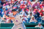 30 July 2017: Colorado Rockies infielder Pat Valaika pinch hits in the 6th inning against the Washington Nationals at Nationals Park in Washington, DC. The Rockies defeated the Nationals 10-6 in the second game of their 3-game weekend series. Mandatory Credit: Ed Wolfstein Photo *** RAW (NEF) Image File Available ***