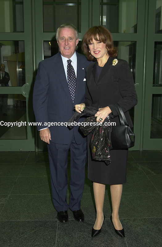 Aug 22 2002, Montreal, Quebec, Canada<br /> <br /> Brian Mulroney and wife Mila at the opening of the 26th, World Film Festival, Aug 22 2002, in  Montreal, Quebec, Canada<br /> <br /> <br /> Mandatory Credit: Photo by Pierre Roussel- Images Distribution. (&copy;) Copyright 2002 by Pierre Roussel <br /> <br /> NOTE : <br />  Nikon D-1 jpeg opened with Qimage icc profile, saved in Adobe 1998 RGB<br /> .Uncompressed  Uncropped  Original  size  file availble on request.