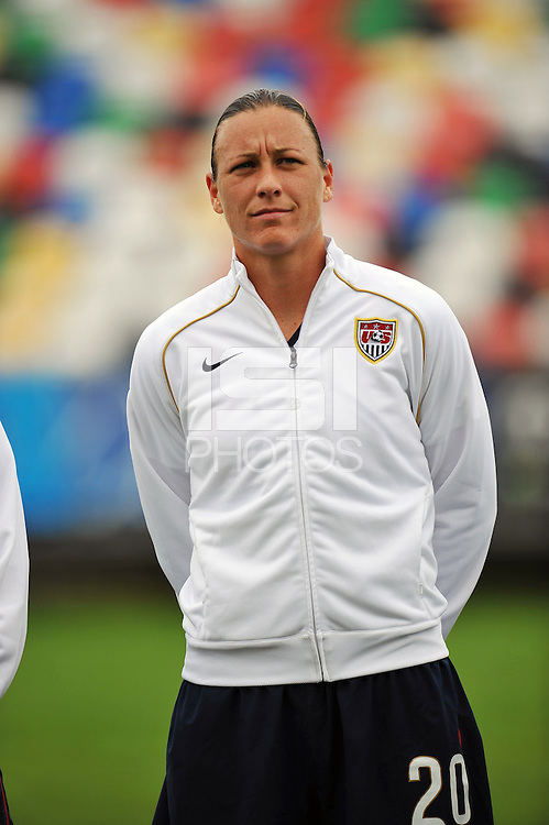 Abby Wambach. The USA defeated Norway 2-1 at Olhao Stadium on February 26, 2010 at the Algarve Cup.