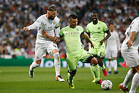 Manchester City´s forward Sergio Aguero<br /> and Real Madrid's Spanish defense Sergio Ramos during the UEFA Champions League match between Real Madrid and Manchester City at the Santiago Bernabeu Stadium in Madrid, Wednesday, May 4, 2016.