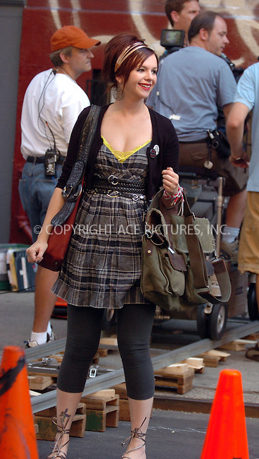 WWW.ACEPIXS.COM . . . . .  ....August 1 2007, New York City....Actress Amber Tamblyn was in the East Village of Manhattan on an especially hot and humid day on the set of her new movie 'Sisterhood of the traveling Pants 2'....Please byline: AJ Sokalner - ACEPIXS.COM..... *** ***..Ace Pictures, Inc:  ..te: (646) 769 0430..e-mail: info@acepixs.com..web: http://www.acepixs.com