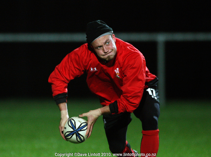 Wales halfback Richard Rees during the Wales rugby training session at Trusts Stadium, Porirua, Wellington, New Zealand on Monday, 14 June 2010. Photo: Dave Lintott / lintottphoto.co.nz