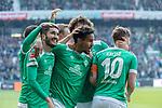 13.04.2019, Weser Stadion, Bremen, GER, 1.FBL, Werder Bremen vs SC Freiburg, <br /> <br /> DFL REGULATIONS PROHIBIT ANY USE OF PHOTOGRAPHS AS IMAGE SEQUENCES AND/OR QUASI-VIDEO.<br /> <br />  im Bild<br /> <br /> 2:0 kopfball Theodor Gebre Selassie (Werder Bremen #23) <br /> <br /> jubel <br /> Max Kruse (Werder Bremen #10) Milot Rashica (Werder Bremen #11) Nuri Sahin (Werder Bremen #17)<br /> Ludwig Augustinsson (Werder Bremen #05)<br /> Claudio Pizarro (Werder Bremen #04)<br /> Foto &copy; nordphoto / Kokenge