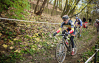 Sven Nys (BEL/Crelan-AAdrinks) way back in the pack (in lap 1)<br /> <br /> Druivencross Overijse 2014