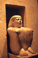 "World Civilization:  Egypt--Sihathor, 12th Dynasty, c. 1900 B.C.  he held office under King Ammenemes II,  ""Squatting figure...an early example of a statue in this pose"".  British Museum."