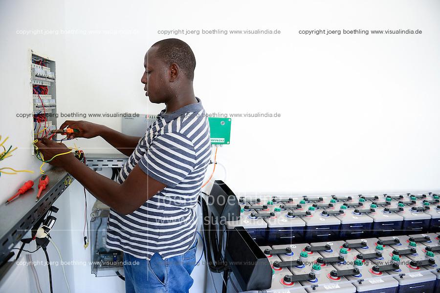 BURKINA FASO, Bobo Dioulasso, agricultural training institute CAP-M,  battery station to store solar power / landwirtschaftliche Berufsschule CAP-M, Solaranlage, Hoppecke Speicherbatterien