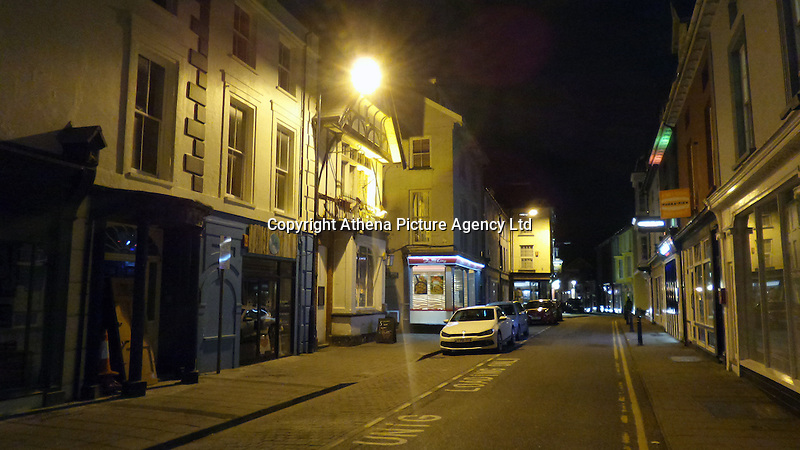 ALEX WEST STORY<br />Pictured:  Eastgate Street where Downies Vaults bar is located in Aberystwyth, Wales, UK. Thursday 10 February 2017<br />Re: Rugby player Gareth Davies seen on mobile phone footage assaulting people