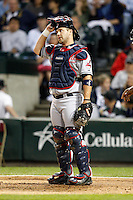 August 7, 2009:  Catcher Kelly Shoppach (10) of the Cleveland Indians in the field during a game vs. the Chicago White Sox at U.S. Cellular Field in Chicago, IL.  The Indians defeated the White Sox 6-2.  Photo By Mike Janes/Four Seam Images