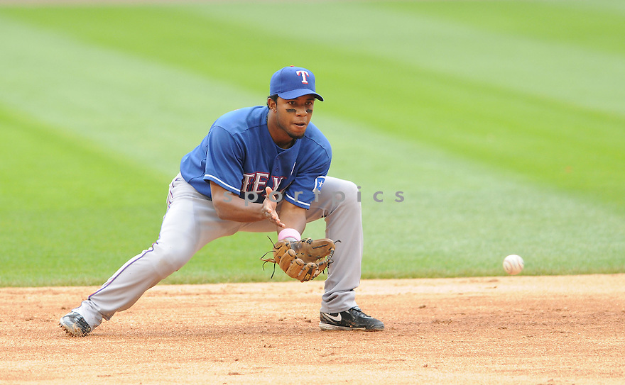 ELVIS ANDRUS, of the Texas Rangers , in action during the Rangers game against the Chicago White Sox on May 10, 2009 in Chicago, IL. The Rangers beat the White Sox 7-1.