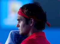 ROGER FEDERER (SUI) against JUAN MARTIN DEL POTRO (ARG) in the Quarter Finals of the Men's Singles. Roger Federer beat Juan martin Del Potro 6-4 6-3 6-2 ..24/01/2012, 24th January 2012, 24.01.2012 - Day 9..The Australian Open, Melbourne Park, Melbourne,Victoria, Australia.@AMN IMAGES, Frey, Advantage Media Network, 30, Cleveland Street, London, W1T 4JD .Tel - +44 208 947 0100..email - mfrey@advantagemedianet.com..www.amnimages.photoshelter.com.