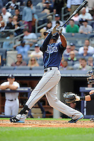 Tampa Bay Rays outfielder B.J. Upton #2 during a game against the New York Yankees at Yankee Stadium on September 21, 2011 in Bronx, NY.  Yankees defeated Rays 4-2.  Tomasso DeRosa/Four Seam Images