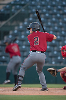 AZL Diamondbacks catcher Luvin Valbuena (2) at bat during an Arizona League game against the AZL Angels at Tempe Diablo Stadium on June 27, 2018 in Tempe, Arizona. The AZL Angels defeated the AZL Diamondbacks 5-3. (Zachary Lucy/Four Seam Images)