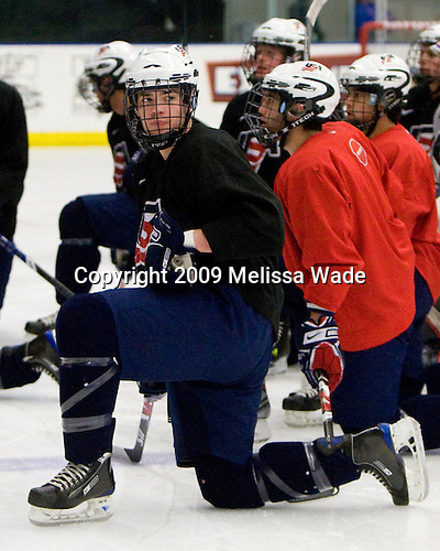 William Wrenn (US - 19), Jerry D'Amigo (US - 9) (Samuelsson, Treais) - The US practiced the morning of Sunday, April 19, 2009, prior to their gold medal game against Russia in the 2009 World Under 18 Championship at the Urban Plains Center in Fargo, North Dakota.