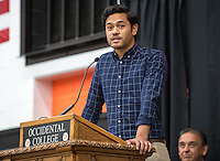 ASOC President Theophilus Savini welcomes incoming students during Orientation, Aug. 21, 2015 in Rush Gym.<br /> (Photo by Marc Campos, Occidental College Photographer)
