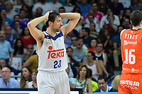 MADRID, ESPAÑA - 11 DE JUNIO DE 2017: Sergio Llull se lamenta durante el partido entre Real Madrid y Valencia Basket, correspondiente al segundo encuentro de playoff de la final de la Liga Endesa, disputado en el WiZink Center de Madrid. (Foto: Mateo Villalba-Agencia LOF)