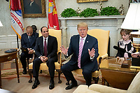 United States President Donald J. Trump meets President Abdel-Fattah el-Sisi of the Arab Republic of Egypt in the Oval Office of the White House in Washington, DC on April 9, 2019.<br /> CAP/MPI/RS<br /> &copy;RS/MPI/Capital Pictures