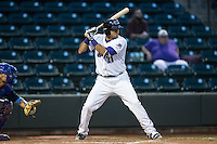 Nick Basto (21) of the Winston-Salem Dash at bat against the Myrtle Beach Pelicans at BB&T Ballpark on May 2, 2016 in Winston-Salem, North Carolina.  The Pelicans defeated the Dash 3-2 in 11 innings.  (Brian Westerholt/Four Seam Images)
