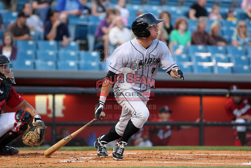 Omaha Storm Chasers outfielder David Lough #3 at bat during a game against the Nashville Sounds at Greer Stadium on April 25, 2011 in Nashville, Tennessee.  Omaha defeated Nashville 2-1.  Photo By Mike Janes/Four Seam Images