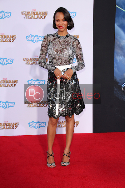 """Zoe Saldana<br /> at the """"Guardians Of The Galaxy"""" Premiere, Dolby Theater, Hollywood, CA 07-21-14<br /> David Edwards/Dailyceleb.com 818-249-4998"""