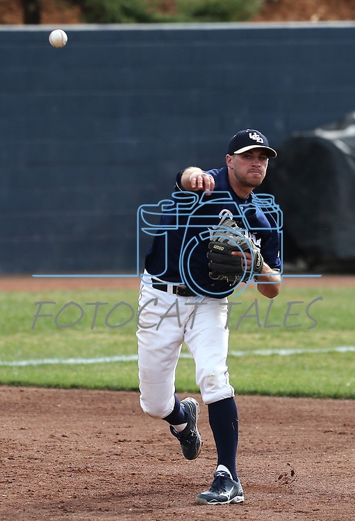 UC Davis' Paul Politi makes a play during a college baseball game between the Washington Huskies and the Davis Aggies, in Davis, Ca., on Saturday, Feb. 16 , 2013. The Aggies won the opener 6-5 and dropped the second game 3-2..Photo by Cathleen Allison