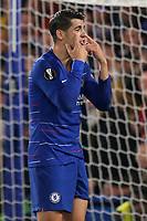 Chelsea's Alvaro Morata reacts after missing a goalscoring opportunity during Chelsea vs MOL Vidi, UEFA Europa League Football at Stamford Bridge on 4th October 2018