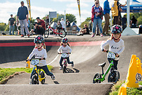 NWA Democrat-Gazette/BEN GOFF @NWABENGOFF<br /> Children take practice laps Wednesday, Oct. 10, 2018, during the Strider Bikes pump track races at The Jones Center's Runway Bike Park in Springdale. Children ages 3-6, divided into two age groups, raced head-to-head to see who was the fastest on the balance bikes designed to help young children learn how to ride. It was the first competetive event to use the new pump track that was built to host the Red Bull Pump Track World Championship Final coming up Saturday.