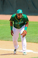 Beloit Snappers first baseman Miguel Mercedes (7) during a Midwest League game against the Quad Cities River Bandits on June 18, 2017 at Pohlman Field in Beloit, Wisconsin.  Quad Cities defeated Beloit 5-3. (Brad Krause/Krause Sports Photography)