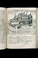 Drawing of the house of Samuel de Champlain in Quebec, drawn by himself, 1613, from the Book of the Voyages of Champlain, written and drawn by Samuel de Champlain, 1574-1635, navigator and draftsman, from the Archives of the Quebec Seminary, in the Musee de la Civilisation, or Museum of Civilisation, Quebec City, Quebec, Canada. The Historic District of Old Quebec is listed as a UNESCO World Heritage Site. Picture by Manuel Cohen