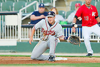 Rome Braves first baseman Casey Kalenkosky (32) can't handle a low throw during the South Atlantic League game against the Kannapolis Intimidators at CMC-Northeast Stadium on April 25, 2013 in Kannapolis, North Carolina.   (Brian Westerholt/Four Seam Images)