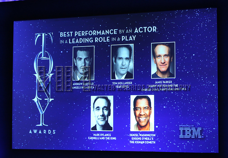 Best Performance by an Actor in a Leading Role in a Play mentioned during the 2018 Tony Awards Nominations Announcement at The New York Public Library for the Performing Arts on May 1, 2018 in New York City.
