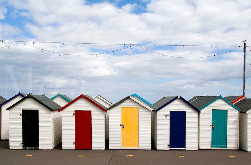 Colorful bath houses in Paignton,  Devon, England