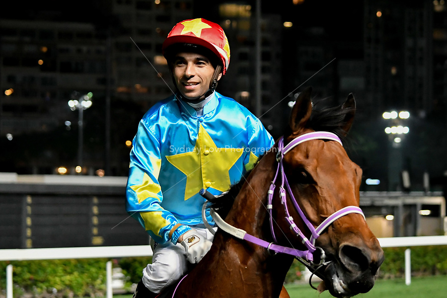 6 December 2017, Hong Kong - Joao Moreira on INFINITY ENDEAVOUR after winning race 2 of the Longines International Jockeys' Championship at Happy Valley Racecourse in Hong Kong. Photo Sydney Low