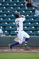 Laz Rivera (16) of the Winston-Salem Dash follows through on his swing against the Myrtle Beach Pelicans at BB&T Ballpark on August 6, 2018 in Winston-Salem, North Carolina. The Dash defeated the Pelicans 6-3. (Brian Westerholt/Four Seam Images)
